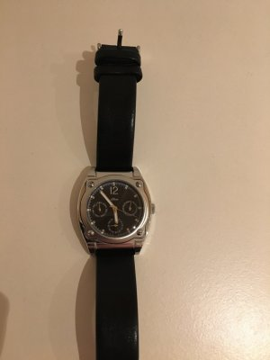 s.Oliver Watch With Leather Strap black-silver-colored