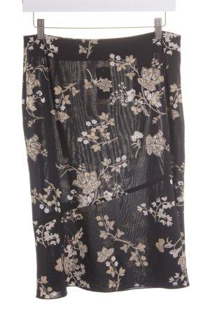 s.Oliver Asymmetrie-Rock schwarz-hellbraun florales Muster Casual-Look