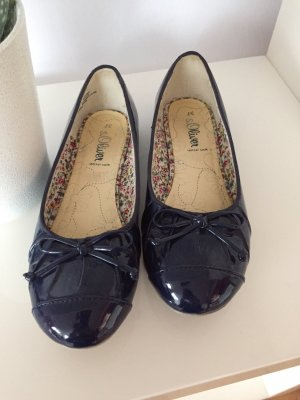 s.Oliver Patent Leather Ballerinas dark blue