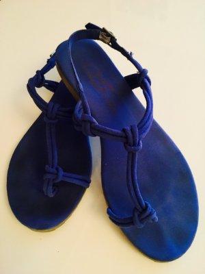 S.Oliver - blaue Wildleder-Sandalen, Größe 38