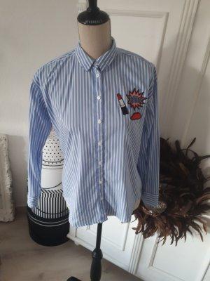 S. Oliver Bluse Oversize Hemdbluse Streifen Patches Hellblau Weiss XS 34
