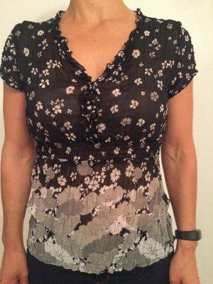 S. Oliver - Bluse transparent mit Blumenprint und Bändchen am Rücken