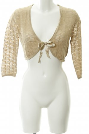 s.Oliver Bolero cream-gold-colored loosely knitted pattern glittery