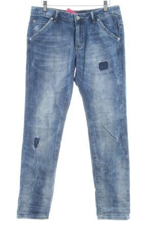 s.Oliver Boyfriendhose dunkelblau-weiß Farbverlauf Biker-Look