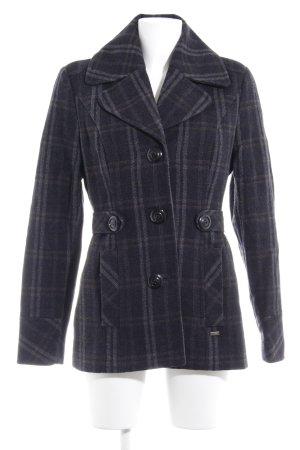 s.Oliver Heavy Pea Coat dark blue-light grey Vichy check pattern classic style