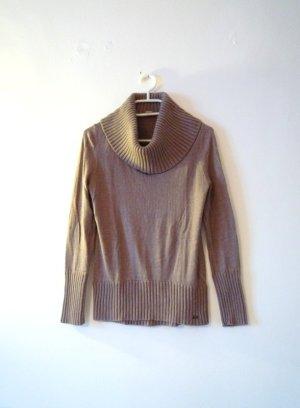 S.OLIVER Camelfarbener Pullover mit großem Kragen, Angoraanteil, Gr. 38