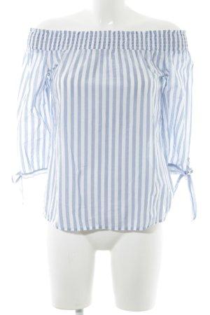s.Oliver Carmen blouse wit-staalblauw gestreept patroon casual uitstraling