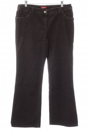 s.Oliver Corduroy Trousers dark brown Logo application (leather)