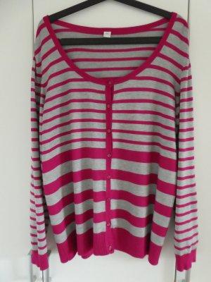 s.Oliver – Damen Strickjacke, gestreift in pink und hellgrau - Gebraucht, fast wie neu