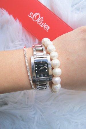 S.OLIVER Damen Uhr Schmuck silber schwarz Zifferblatt