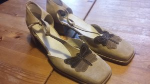 s.Oliver Zapatos de tacón con barra en T beige Gamuza