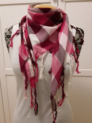 S. Oliver Dreieckstuch Fransentuch Karotuch pink weiß silber