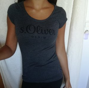 S.Oliver dunkelgraues Baumwoll T-Shirt mit schwarzem Aufdruck Gr.  XS