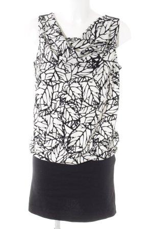 s.Oliver Vestido corte imperio negro-blanco puro estampado con diseño abstracto