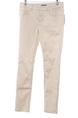 s.Oliver Pantalon cinq poches beige-blanc motif graphique style décontracté