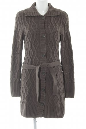 s.Oliver Coarse Knitted Jacket taupe cable stitch casual look