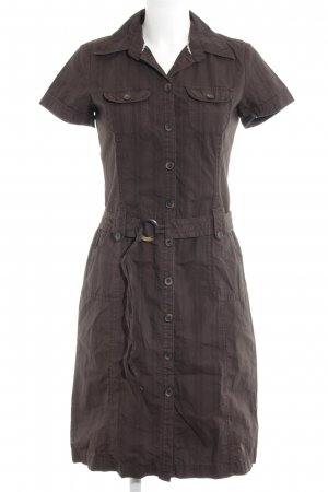 s.Oliver Hemdblusenkleid dunkelbraun-rostrot Streifenmuster 90ies-Stil