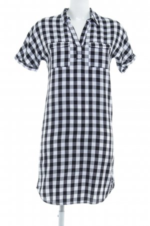 s.Oliver Abito blusa camicia nero-bianco motivo a quadri stile da moda di strada