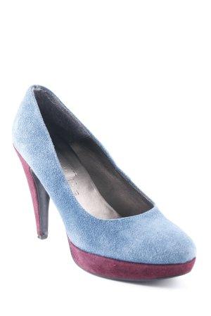 s.Oliver High Heels bordeauxrot-stahlblau extravaganter Stil