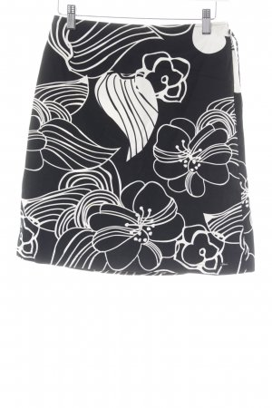 s.Oliver High Waist Rock schwarz-creme Blumenmuster Casual-Look