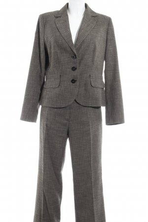 s.Oliver Trouser Suit dark brown-cream flecked business style