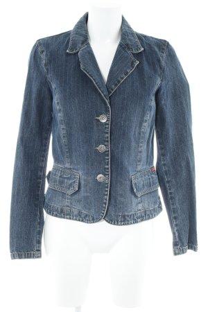 s.Oliver Jeansjacke dunkelblau Streifenmuster Jeans-Optik