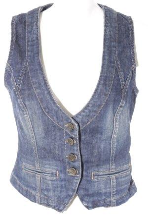 s.Oliver Gilet en jean gris ardoise-bleu foncé style décontracté