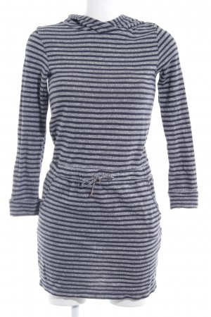 s.Oliver Hooded Dress grey-taupe striped pattern fluffy