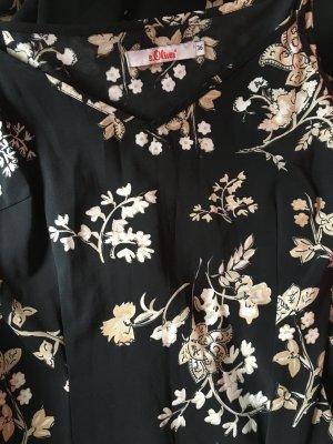 S.Oliver Kleid schwarz Blumen