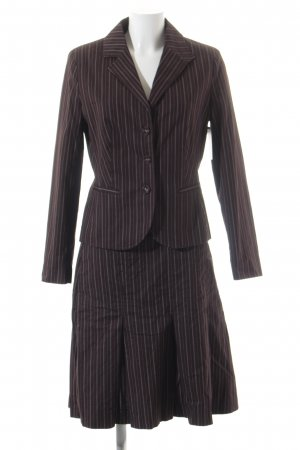s.Oliver Kostüm dunkelbraun-wollweiß Nadelstreifen Business-Look