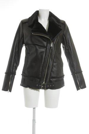s.Oliver Chaqueta de cuero de imitación negro-color plata look Street-Style