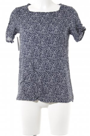 s.Oliver Kurzarm-Bluse weiß-dunkelblau florales Muster Casual-Look