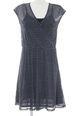 s.Oliver Kurzarmkleid dunkelblau-weiß abstraktes Muster Casual-Look