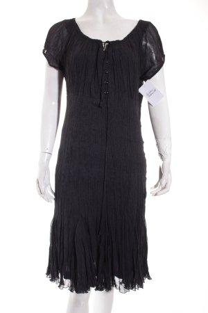 s.Oliver Kurzarmkleid schwarz-dunkelgrau Punktemuster Gypsy-Look