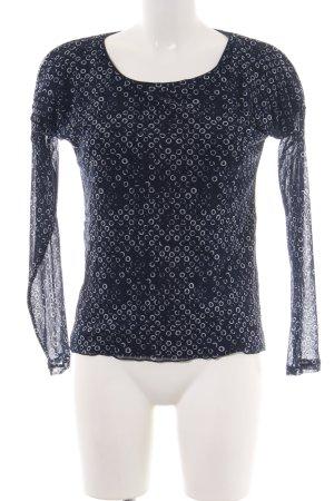 s.Oliver Langarm-Bluse schwarz-weiß Allover-Druck Casual-Look