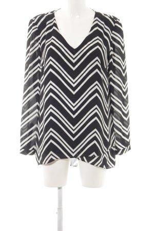 s.Oliver Langarm-Bluse schwarz-weiß grafisches Muster Business-Look