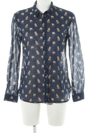 s.Oliver Langarm-Bluse dunkelblau-hellbraun Motivdruck Casual-Look