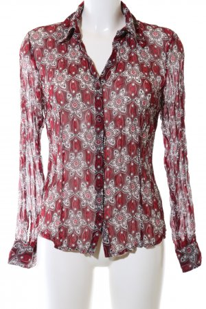 s.Oliver Langarm-Bluse rot-hellgrau abstraktes Muster Casual-Look