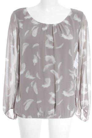 s.Oliver Langarm-Bluse graubraun-weiß Elegant