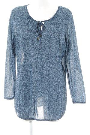s.Oliver Langarm-Bluse kornblumenblau-dunkelblau Allover-Druck Casual-Look