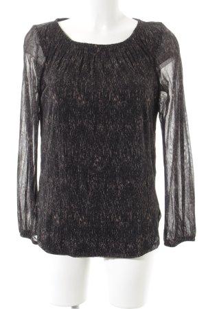 s.Oliver Langarm-Bluse schwarz-beige Farbtupfermuster Elegant