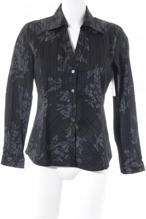 s.Oliver Langarm-Bluse schwarz-grau florales Muster Casual-Look