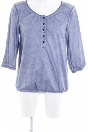 s.Oliver Langarm-Bluse stahlblau Batikmuster Casual-Look