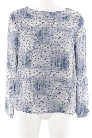 s.Oliver Langarm-Bluse weiß-blau Mustermix schlichter Stil