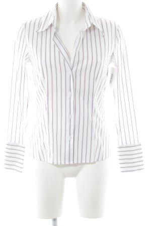 s.Oliver Langarm-Bluse weiß-braunviolett Streifenmuster Casual-Look