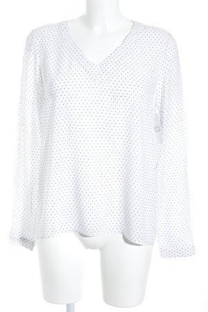 s.Oliver Langarm-Bluse weiß-dunkelblau Punktemuster schlichter Stil