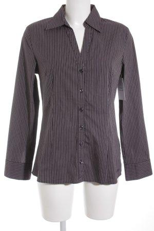 s.Oliver Langarmhemd weiß-braunviolett Streifenmuster Casual-Look