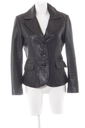 s.Oliver Leather Blazer black '60s style