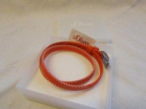 s.OLIVER: Lederband mit Edelstahlschließe, 33 cm, orange - NEU