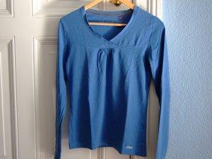 s.Oliver Longshirt blau T-Shirt Top V-Ausschnitt Gr. S